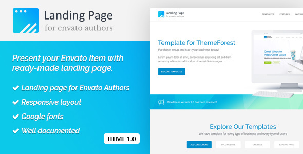 Landing Page HTML Template for Envato Authors            TFx Carran Elvin