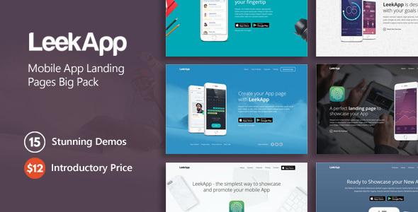 LeekApp - Mobile App Landing Pages Big Pack - Landing Pages Marketing TFx Ken Drummond