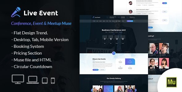 Live Event - Conference and Meetup Muse Template            TFx Barclay Livy