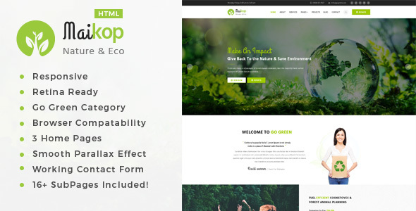 Maikop - Environment / Non-Profit HTML Template - Environmental Nonprofit TFx Garth Rowley