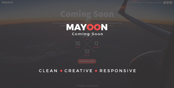 Mayoon - Clean & Responsive Coming Soon Template - Specialty Pages Site Templates TFx Geoffrey Hollis
