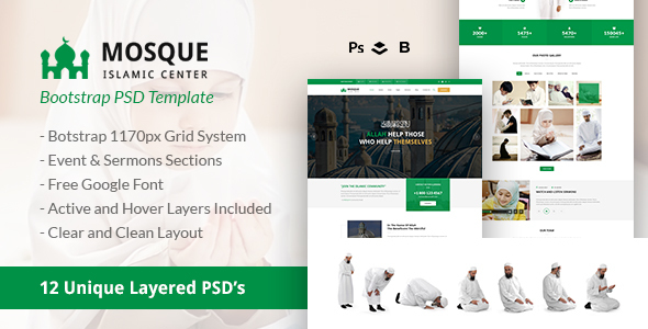 Mosque - Islamic Center Bootstrap PSD Template - Nonprofit PSD Templates TFx Manuel Caligula