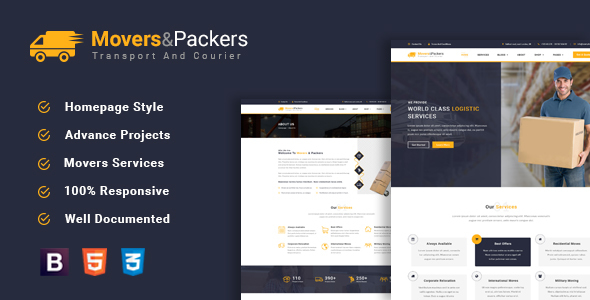 Movers Packers – Logistics Transportation HTML Template            TFx Ives Denzil