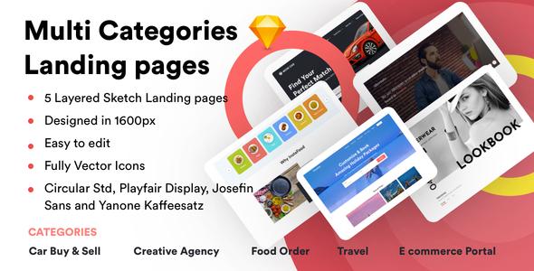 Multi Categories Landing Pages Sketch Templates            TFx Ren Aaren