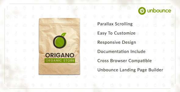 Origano - Organic Store Unbounce Template            TFx Cory Elton