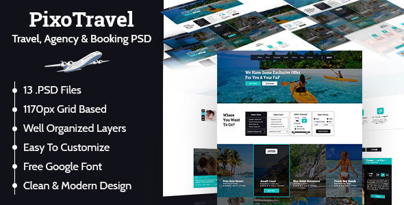 PIXOTRAVEL-Travel, Agency & Booking PSD Template            TFx Josh Harry