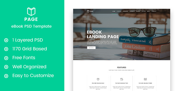Page - eBook Selling Landing Page PSD Template - Marketing Corporate TFx Sammie Darryl