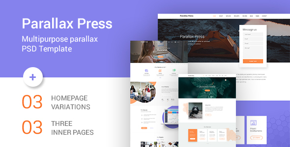 Parallax Press - One Page Multipurpose PSD Template            TFx Forest Baghdasar