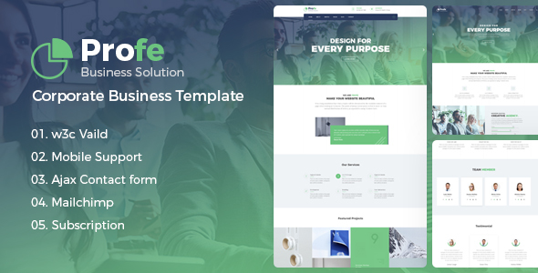 Profe - Multipurpose HTML Template - Business Corporate TFx Baghdasar Hideaki