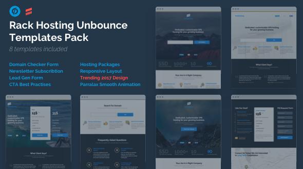 Rack Hosting - Unbounce Landing Page Templates Bundle Pack - Unbounce Landing Pages Marketing TFx Agus Zach