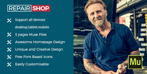 Repair Shop - Muse Template for Mechanic Workshops, Auto Repair and Cars            TFx Vince Ozzie