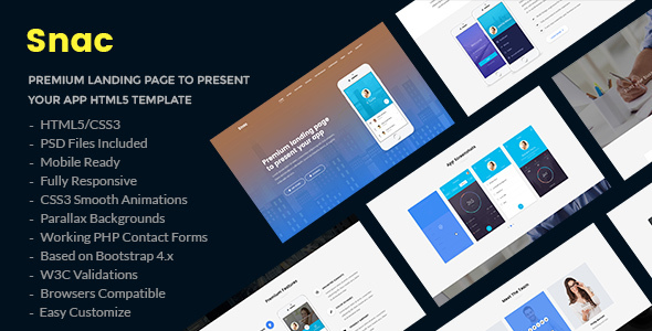 Snac - Premium Responsive App Landing Page HTML5 Template - Software Technology TFx Jervis Timothy