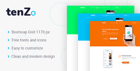TenZo – Mobile App Landing Page PSD Template            TFx Kit Jimmie