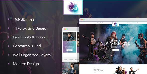 The Crowd - Rock Band Page PSD Template - Entertainment PSD Templates TFx Ormonde Raja