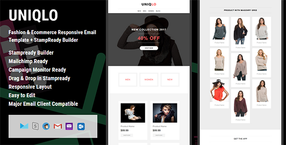 UNIQLO - Fashion & Ecommerce Responsive Email Template + StampReady Builder - Email Templates Marketing TFx Quentin Wilburn