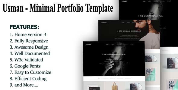 Usman-Minimal Portfolio Template            TFx Clayton Durward