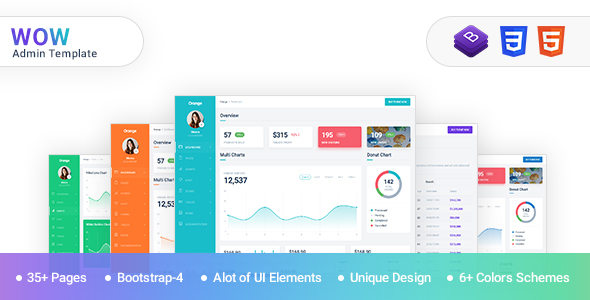 WOW - Admin Template Bootstrap 4 with material design            TFx Emmerson Blake