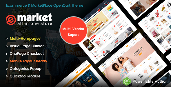 eMarket – The eCommerce & Multi-purpose MarketPlace OpenCart 3 Theme (Mobile Layouts Included)            TFx Des Clarence