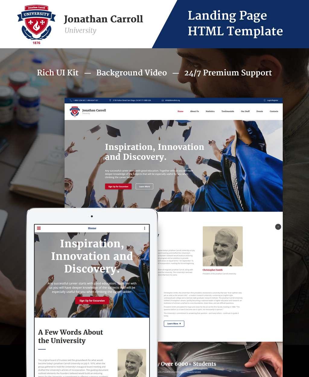 Jonathan Carroll - University HTML Landing Page Template TMT Bruce Hiroki