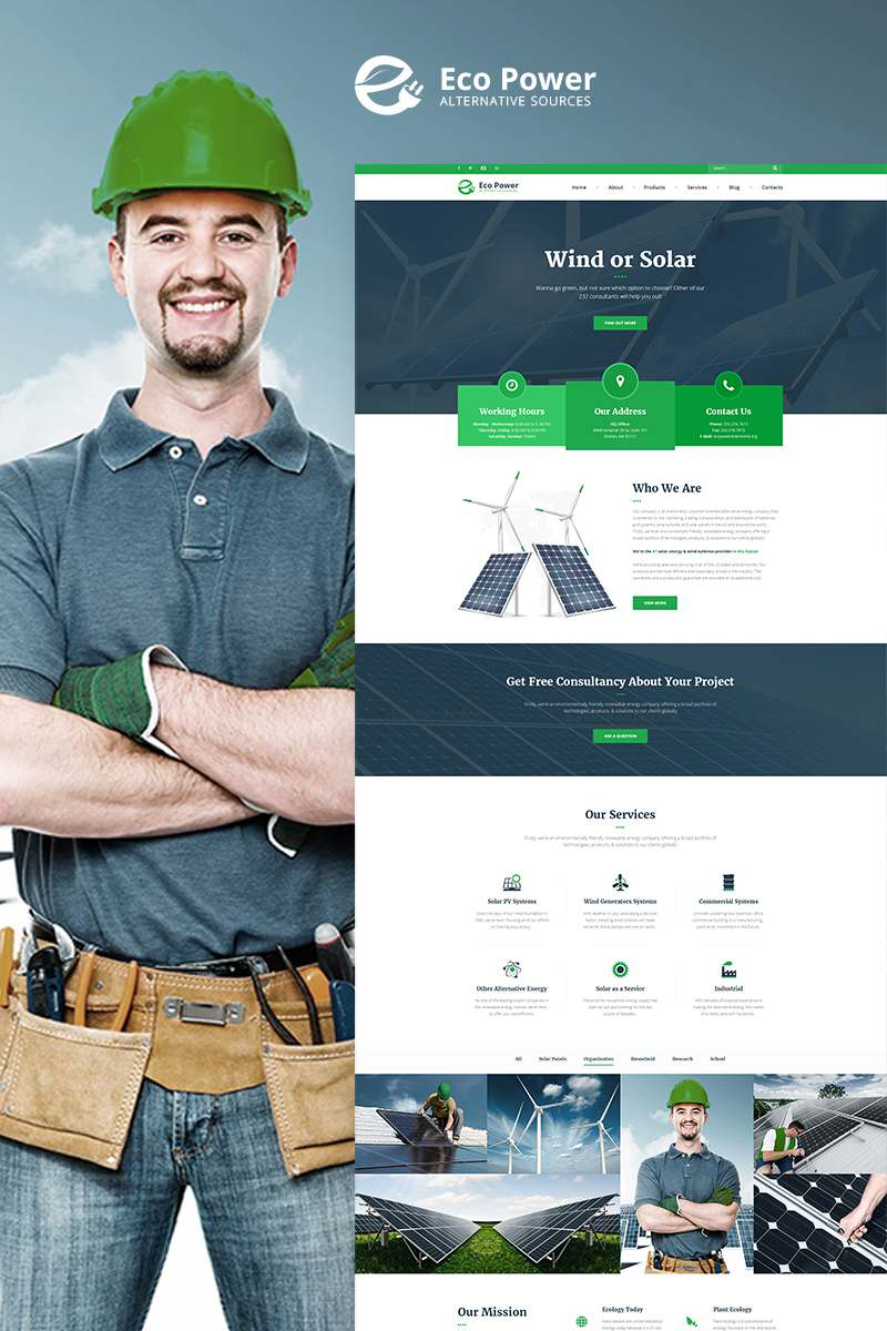 EcoPower – Alternative Power & Solar Energy WordPress Theme TMT Payton Ford