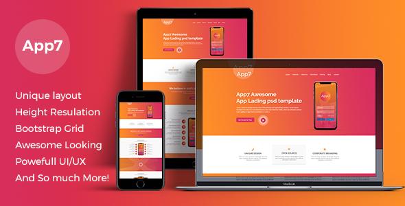 App7 app landing PSD template            TFx Garnet Winton
