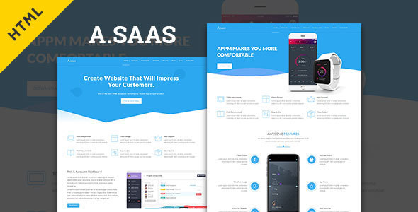 Asaas- Saas & App Landing Html5 Template            TFx Gregg Basil