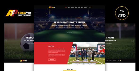 AtheletePress Sports MultiPurpose PSD template            TFx Jarrett Tirto