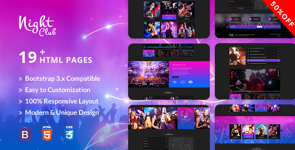 Aveda Night Club- Multipurpose Responsive Template For Disco, Night club, Party & Music            TFx Oscar Wyatt