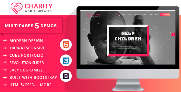 Charity Nonprofit Multipage Template            TFx Faramond Astor