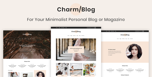 Charm Blog - Minimalist Personal Blog & Magazine PSD Template            TFx Marvin Scotty