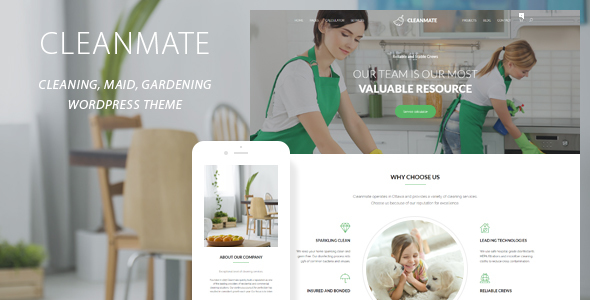 CleanMate - Cleaning Company Maid Gardening WordPress Theme            TFx Royale Darden