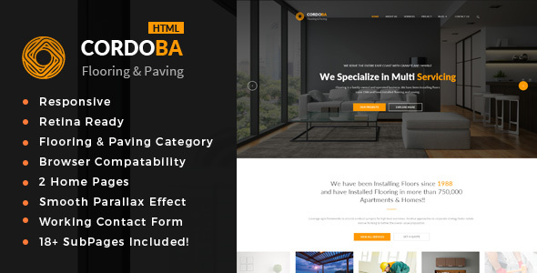 Cordoba : Floor and Paving Service HTML Template            TFx Placid Ricky