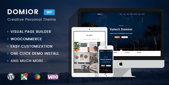 Domior - Creative Personal Portfolio WordPress Shop Theme            TFx Randy Norbert