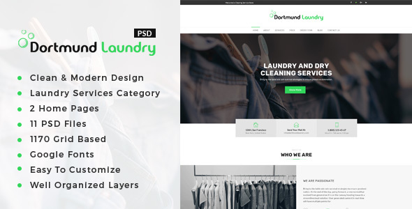 Dortmund : Laundry Services PSD Template            TFx Crispin Hamilcar