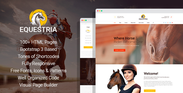 Equestria+ – Horse Club HTML Template with Page Builder            TFx Travers Garret