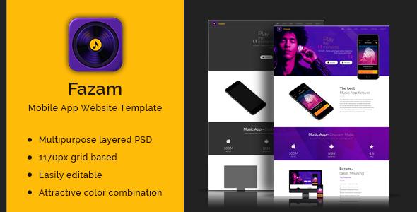 Fazam-Mobile App Website Template            TFx Odin Aloysius