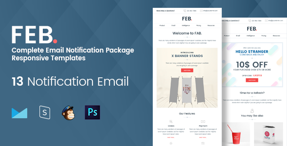 Feb - Complete Email Notification Responsive Templates            TFx Gareth Jeremiah