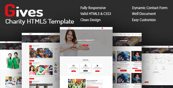 Gives - Nonprofit Crowdfunding & Charity HTML5 Template            TFx Gerard Freddy