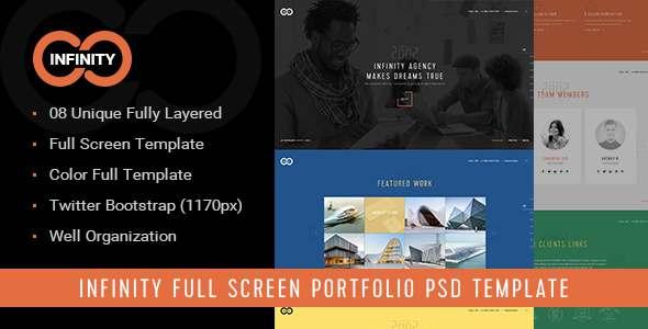 Infinity - Full Screen Agency Portfolio PSD Template            TFx Naoki Sal