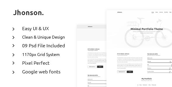 JHONSON - Minimal Portfolio PSD Template            TFx Harta Kenyon