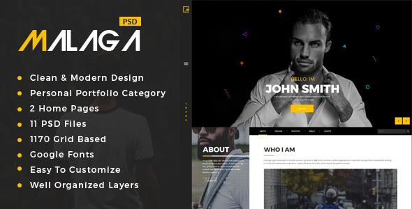 Malaga : Personal Portfolio PSD Template            TFx Fred Woodie