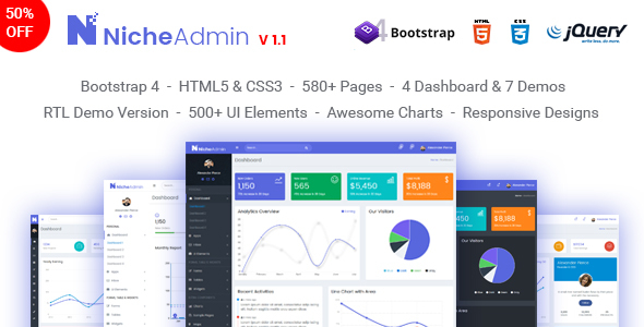 Niche Admin - Powerful Bootstrap 4 Dashboard and Admin Template            TFx Farran Hasdrubal