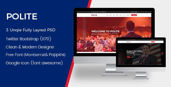Polite - Political PSD Template            TFx Marcus Merit