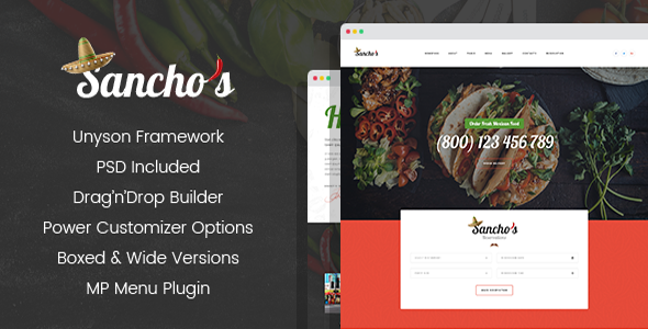 Sancho's - Mexican Restaurant WordPress Theme            TFx Aydan Mason