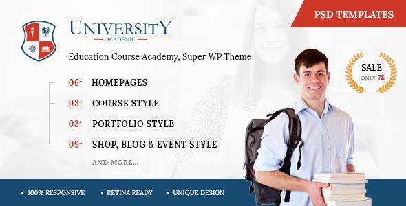 University - Education Course Academy PSD Templates            TFx Jim Shirley