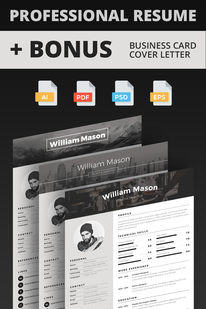 William Mason - Creative Director Resume Template TMT Anson Quinn