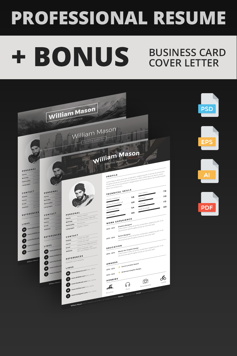 William Mason - Creative Director Resume Template TMT Billie Jewell