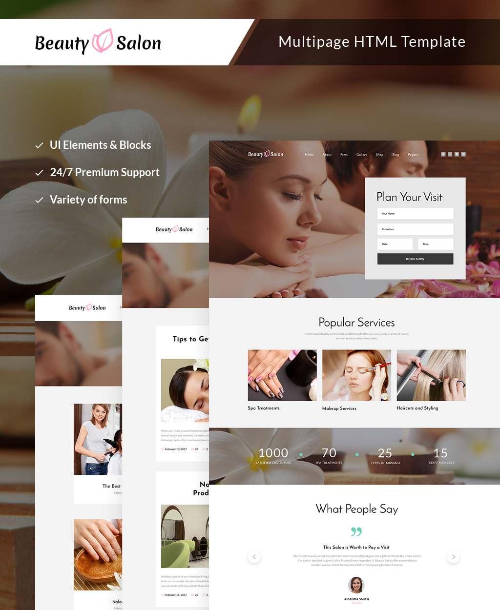 Beauty Salon Responsive Multipage Website Template TMT Xavier Katsu