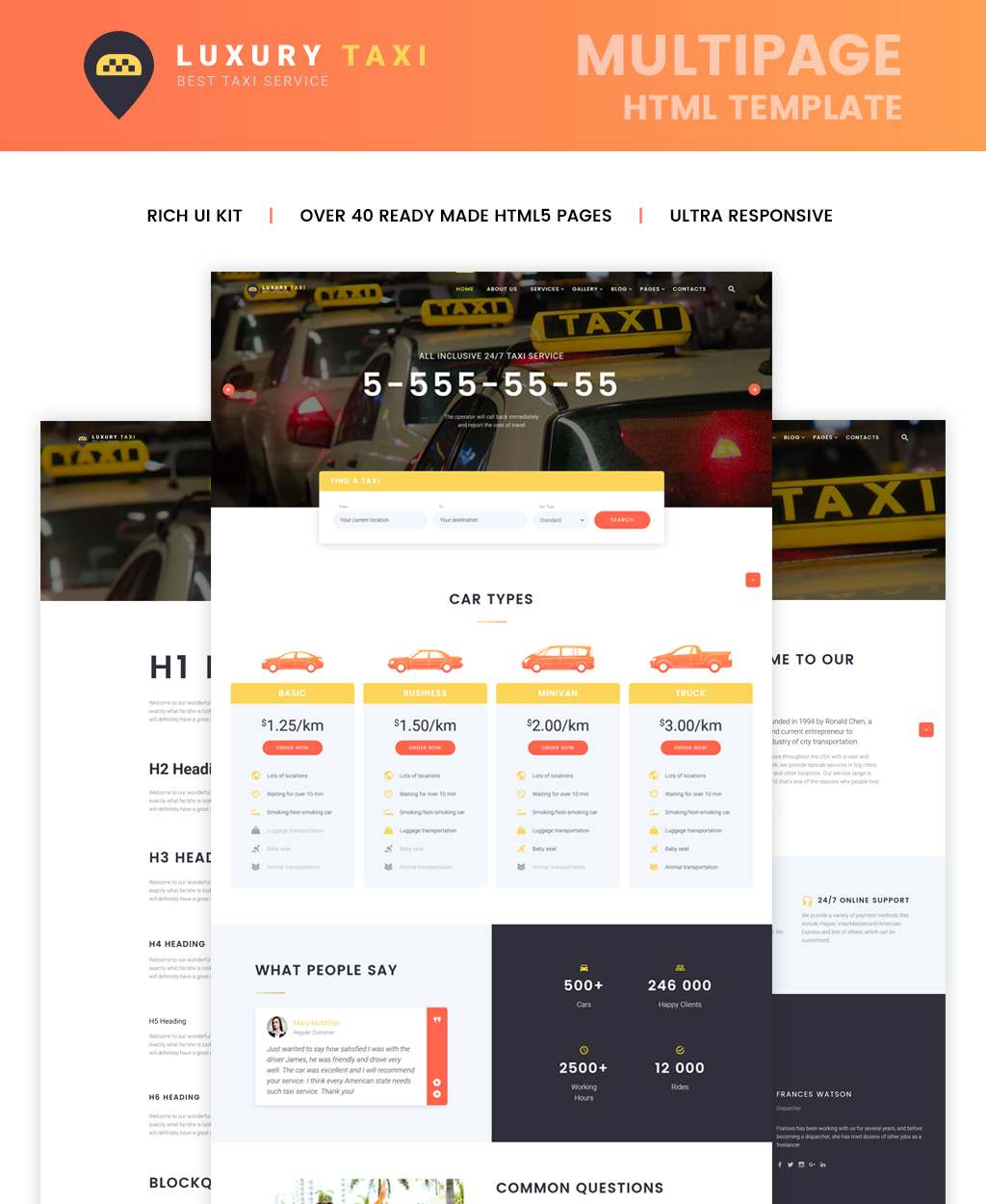 Luxury Taxi Website Template TMT Alf Scottie