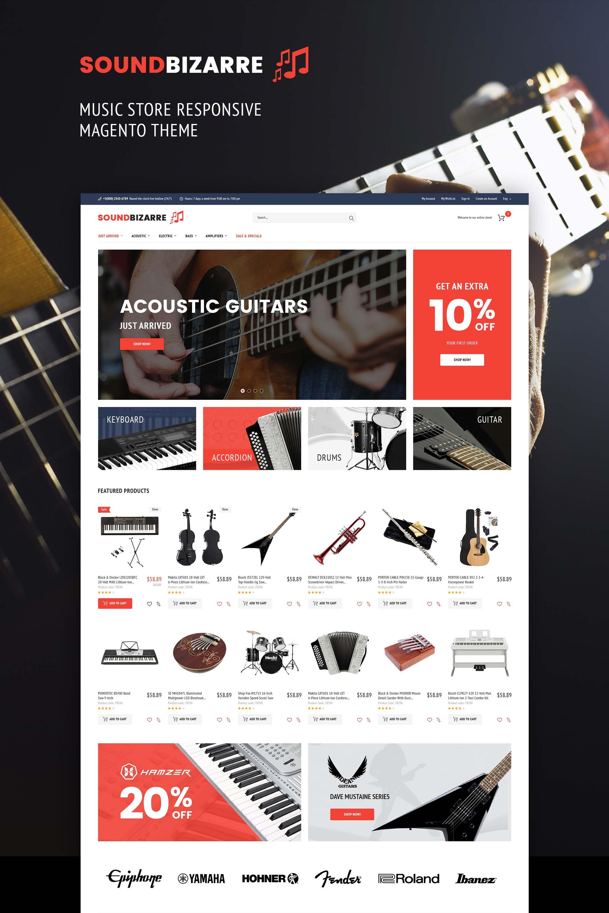 SoundBizarre - Music Store Magento Theme TMT Rene Everette